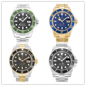 Rolex Submariner of different dial colors